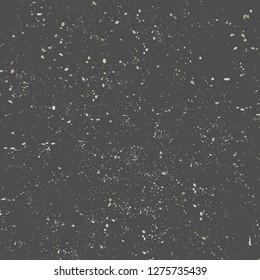Gold speckles vintage texture on dark gray background. Distressed vector design element, elegant gift wrap, festive backdrop design.