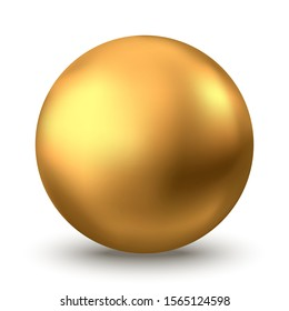 Gold sphere. Oil bubble isolated on white background. Golden glossy 3d ball or precious pearl.