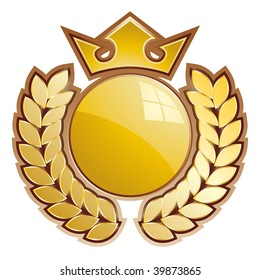 Gold sphere shield - whit crown and laurels