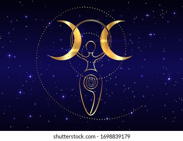 gold spiral goddess of fertility and triple moon Wiccan. The spiral cycle of life, death and rebirth. Golden Woman Wicca mother earth symbol of sexual procreation in blue starry night sky background
