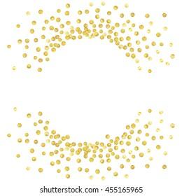 Gold splash or glittering spangles round frame with empty center for text. Design element for festive banner, card, invitation, label, postcard, vignette. Vector illustration.