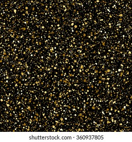 Gold splash or glittering spangles seamless pattern. Hand drawn gold glitter texture. Golden blobs or uneven spots on black background endless template. Festive, birthday, party splatter background.