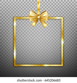 Gold square frame with bow isolated on transparent background. Vector illustration.