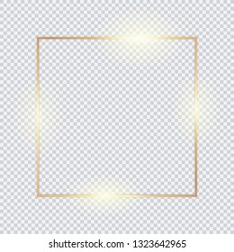 Gold square frame, golden border, vector framework, banner, metal glowing thin lines.  Geometric shape forms.