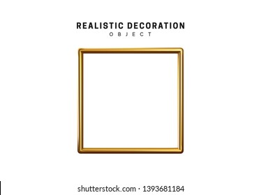gold square frame. Golden geometric 3d object isolated on white background
