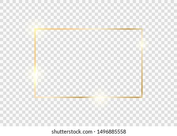 Gold square frame. Golden luxury glow line border. Gold shiny glowing vintage frame with shadows isolated on transparent background.