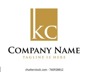 Gold Square Identity Letter KC Company Logo Symbol