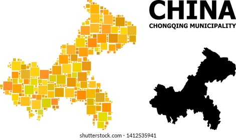 Gold square mosaic and solid map of Chongqing Municipality. Vector geographic map of Chongqing Municipality in yellow golden color tints.