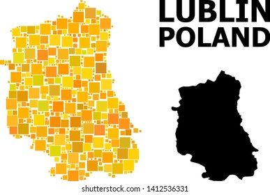 Gold square mosaic and solid map of Lublin Province. Vector geographic map of Lublin Province in yellow golden color shades. Abstract mosaic is combined from scattered flat square parts.