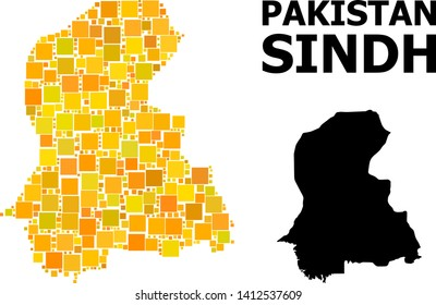Gold square mosaic and solid map of Sindh Province. Vector geographic map of Sindh Province in yellow golden color tones. Abstract mosaic is designed with randomized flat square dots.