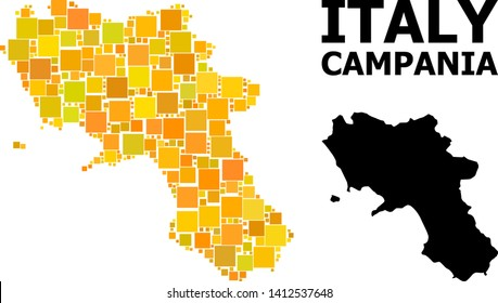 Gold square mosaic and solid map of Campania region. Vector geographic map of Campania region in yellow golden color tinges. Abstract mosaic is composed from scattered flat square items.