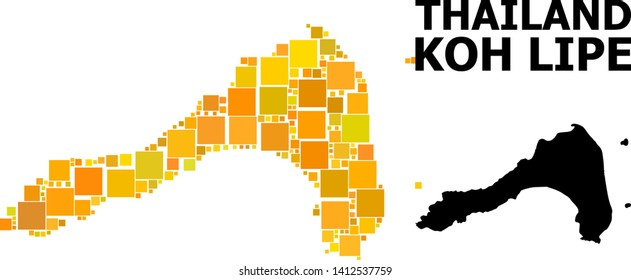 Gold square mosaic and solid map of Koh Lipe. Vector geographic map of Koh Lipe in yellow golden color variations. Abstract mosaic is organized from random flat square items.