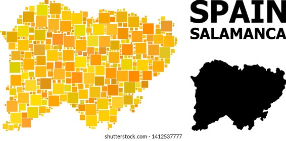 Gold square mosaic and solid map of Salamanca Province. Vector geographic map of Salamanca Province in yellow golden color hues. Abstract mosaic is composed from randomized flat square items.