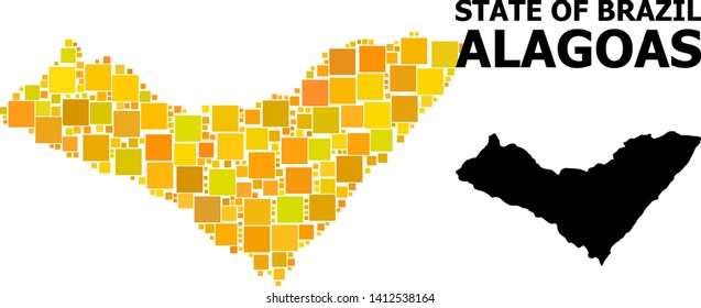 Gold square mosaic and solid map of Alagoas State. Vector geographic map of Alagoas State in yellow golden color tinges. Abstract mosaic is organized with scattered flat rectangle elements.