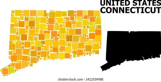 Gold square mosaic and solid map of Connecticut State. Vector geographic map of Connecticut State in yellow golden color variations. Abstract mosaic is organized from random flat rectangle points.