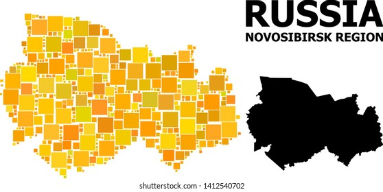 Gold square mosaic and solid map of Novosibirsk Region. Vector geographic map of Novosibirsk Region in yellow golden color variations. Abstract mosaic is organized with scattered flat square pixels.