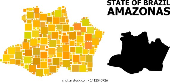 Gold square mosaic and solid map of Amazonas State. Vector geographic map of Amazonas State in yellow golden color shades. Abstract composition is combined with random flat square items.