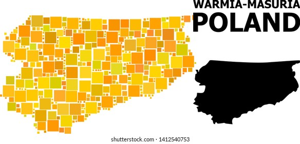 Gold square mosaic and solid map of Warmia-Masuria Province. Vector geographic map of Warmia-Masuria Province in yellow golden color tints. Abstract collage is created with scattered flat square dots.