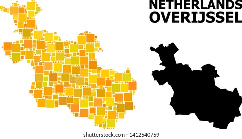 Gold square mosaic and solid map of Overijssel Province. Vector geographic map of Overijssel Province in yellow golden color variations.