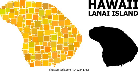 Gold square mosaic and solid map of Lanai Island. Vector geographic map of Lanai Island in yellow golden color tinges. Abstract mosaic is constructed with random flat square parts.