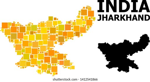 Gold square mosaic and solid map of Jharkhand State. Vector geographic map of Jharkhand State in yellow golden color tints. Abstract collage is done from random flat square points.
