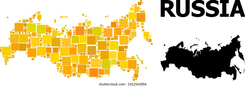 Gold square mosaic and solid map of Russia. Vector geographic map of Russia in yellow golden color tints. Abstract collage is combined from scattered flat square dots.