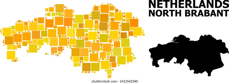 Gold square mosaic and solid map of North Brabant Province. Vector geographic map of North Brabant Province in yellow golden color hues. Abstract mosaic is done with scattered flat square points.