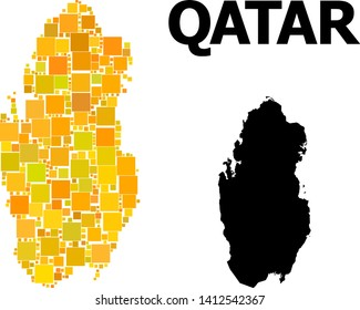 Gold square mosaic and solid map of Qatar. Vector geographic map of Qatar in yellow golden color tinges. Abstract collage is constructed with randomized flat square dots.