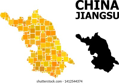 Gold square mosaic and solid Map of Jiangsu Province. Vector geographic Map of Jiangsu Province in yellow golden color hues. Abstract mosaic is created with random flat square items.