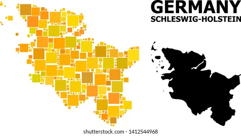 Gold square mosaic and solid map of Schleswig-Holstein State. Vector geographic map of Schleswig-Holstein State in yellow golden color shades.