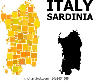 Gold square mosaic and solid map of Sardinia region. Vector geographic map of Sardinia region in yellow golden color tinges. Abstract mosaic is combined with random flat rectangle parts.