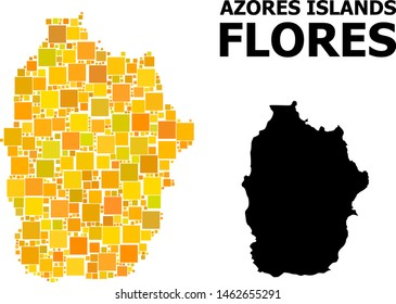 Gold square mosaic and solid map of Azores - Flores Island. Vector geographic map of Azores - Flores Island in yellow golden color shades.