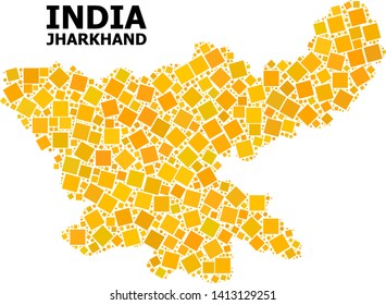 Gold square mosaic vector map of Jharkhand State. Abstract mosaic geographic map of Jharkhand State is composed with scattered flat rotated square dots.