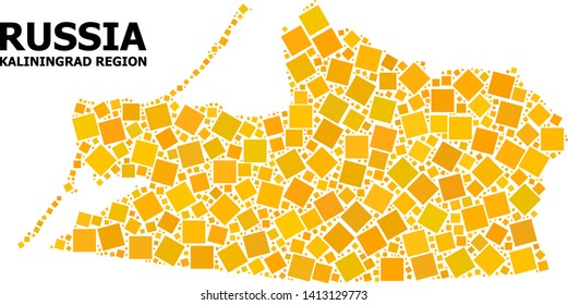 Gold square mosaic vector map of Kaliningrad Region. Abstract composition geographic map of Kaliningrad Region is constructed with scattered flat rotated square items.