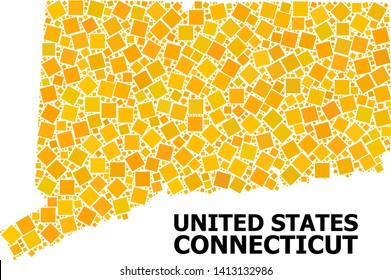 Gold square mosaic vector map of Connecticut State. Abstract concept geographic map of Connecticut State is done from scattered flat rotated square parts.