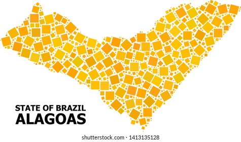 Gold square mosaic vector map of Alagoas State. Abstract mosaic geographic map of Alagoas State is organized with scattered flat rotated square parts.