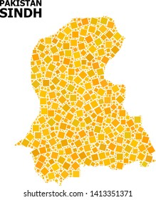 Gold square mosaic vector map of Sindh Province. Abstract mosaic geographic map of Sindh Province is combined with random flat rotated square dots. Vector illustration in yellow golden color tints.