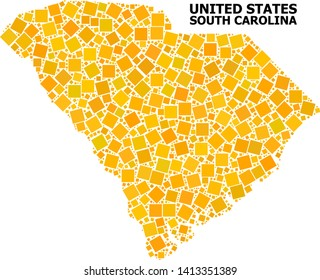 Gold square mosaic vector map of South Carolina State. Abstract concept geographic map of South Carolina State is created with scattered flat rotated square parts.