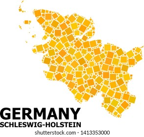 Gold square mosaic vector map of Schleswig-Holstein State. Abstract mosaic geographic map of Schleswig-Holstein State is constructed from random flat rotated square points.