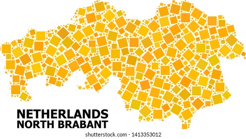 Gold square mosaic vector map of North Brabant Province. Abstract composition geographic map of North Brabant Province is constructed with random flat rotated square items.