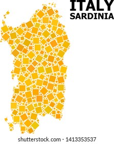 Gold square mosaic vector map of Sardinia region. Abstract mosaic geographic map of Sardinia region is constructed with random flat rotated rectangle items.