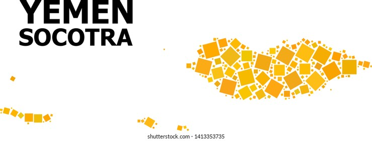 Gold square mosaic vector map of Socotra Archipelago. Abstract collage geographic map of Socotra Archipelago is constructed from randomized flat rotated square elements.