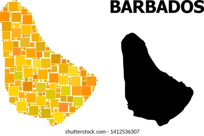 Gold square pattern and solid map of Barbados. Vector geographic map of Barbados in yellow golden color tints. Abstract mosaic is composed with scattered flat square dots.