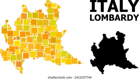 Gold square pattern and solid map of Lombardy region. Vector geographic map of Lombardy region in yellow golden color hues. Abstract composition is done with random flat square parts.