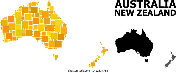 Gold square pattern and solid map of Australia and New Zealand. Vector geographic map of Australia and New Zealand in yellow golden color shades.