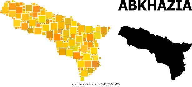 Gold square pattern and solid map of Abkhazia. Vector geographic map of Abkhazia in yellow golden color tinges. Abstract mosaic is organized with scattered flat square items.