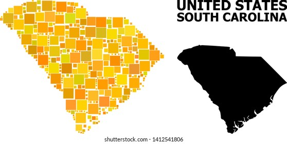 Gold square pattern and solid map of South Carolina State. Vector geographic map of South Carolina State in yellow golden color shades.