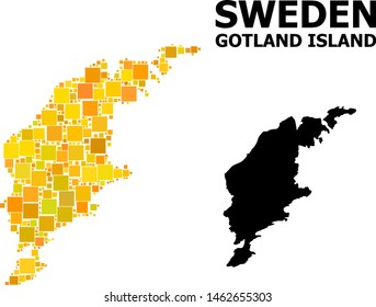 Gold square pattern and solid map of Gotland Island. Vector geographic map of Gotland Island in yellow golden color tints. Abstract composition is designed with scattered flat square parts.