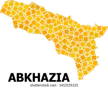 Gold square pattern vector map of Abkhazia. Abstract composition geographic map of Abkhazia is designed from scattered flat rotated square dots. Vector illustration in yellow golden color shades.