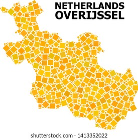 Gold square pattern vector map of Overijssel Province. Abstract composition geographic map of Overijssel Province is combined from random flat rotated square points.